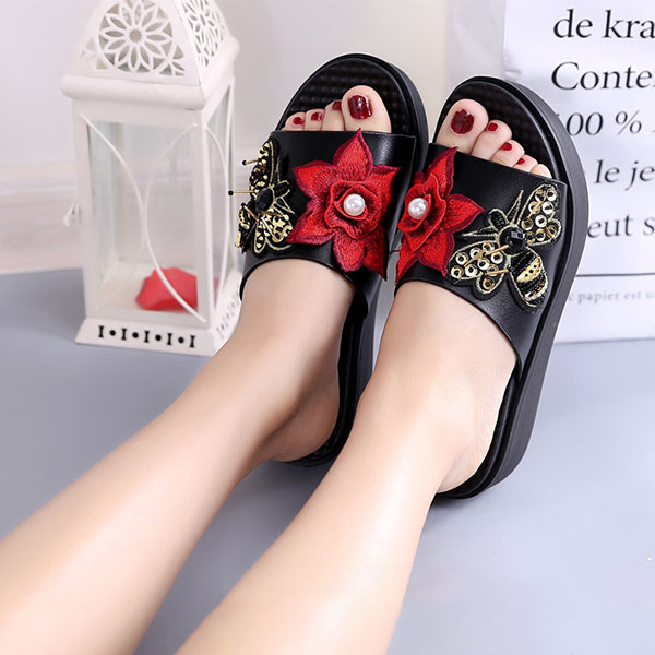 Women Summer Sandals Slip On Soft Sole Flower Embroidery Slippers