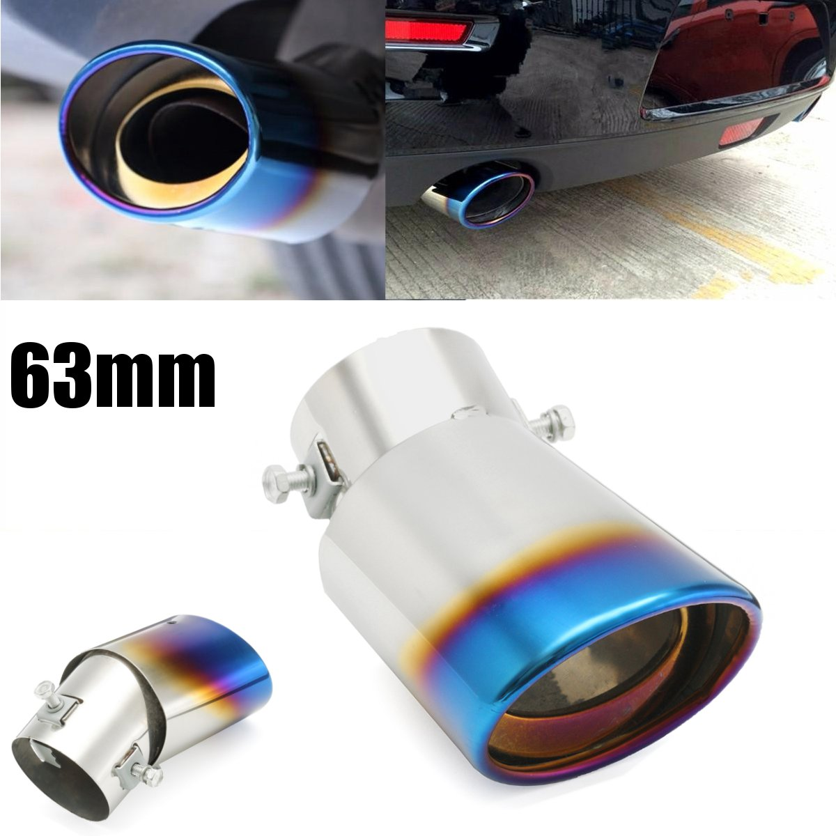 Buy 63mm Inlet Car Exhaust Muffler Tip Pipe Stainless Steel Chrome Grilled Blue