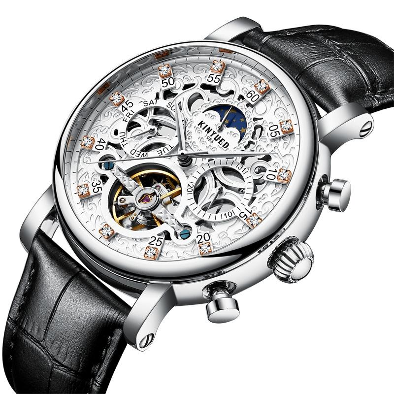 KINYUEDJDDialCasoAutomático Mecánico Reloj Business Style correa de cuero Hombres Reloj