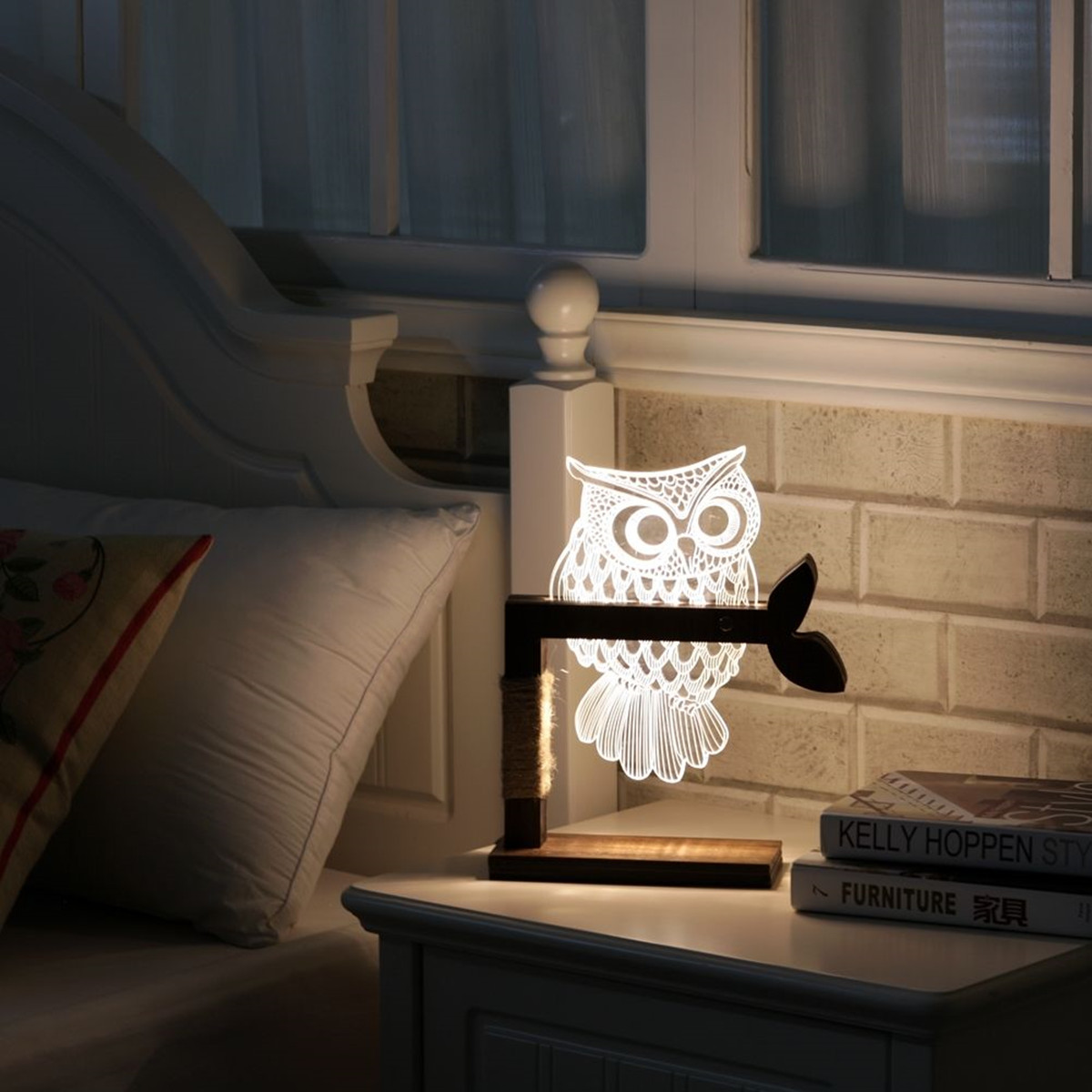 Night owl reading lamps - 3d Owl Shape Led Creative Desk Light Night Lamp Acrylic Dimmable Art Table Lamp Xmas Gifts