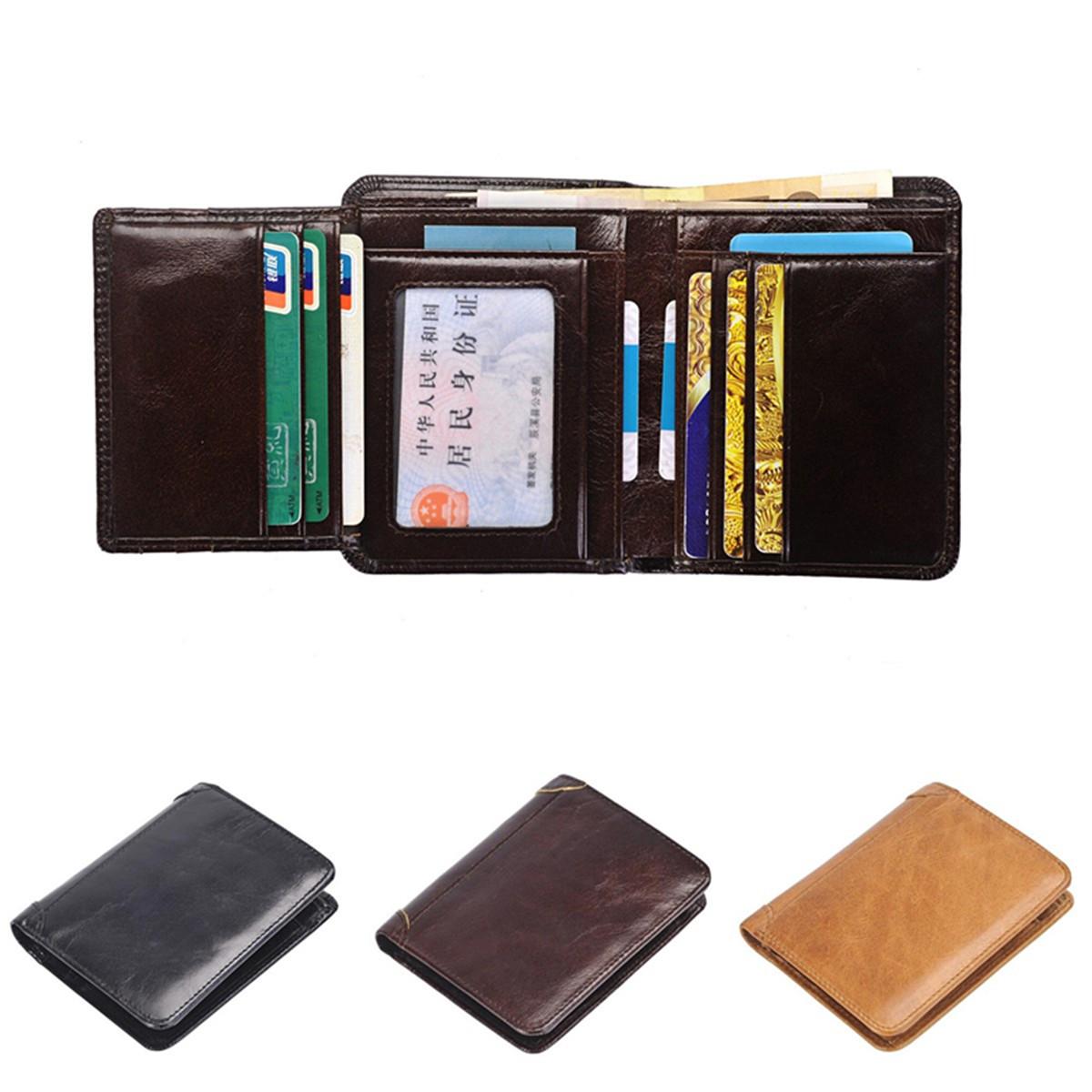 Men's Genuine Leather Money Clip Wallet ID Card Holder
