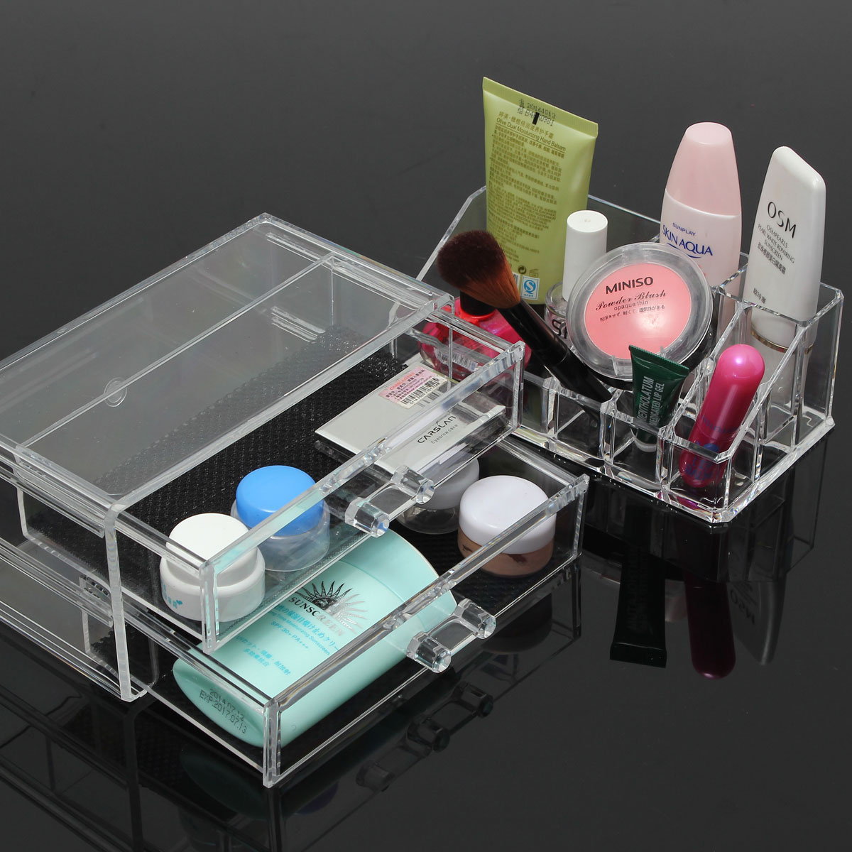 Clear acrylic cosmetic organizer makeup brushes table neat for Beauty table organiser