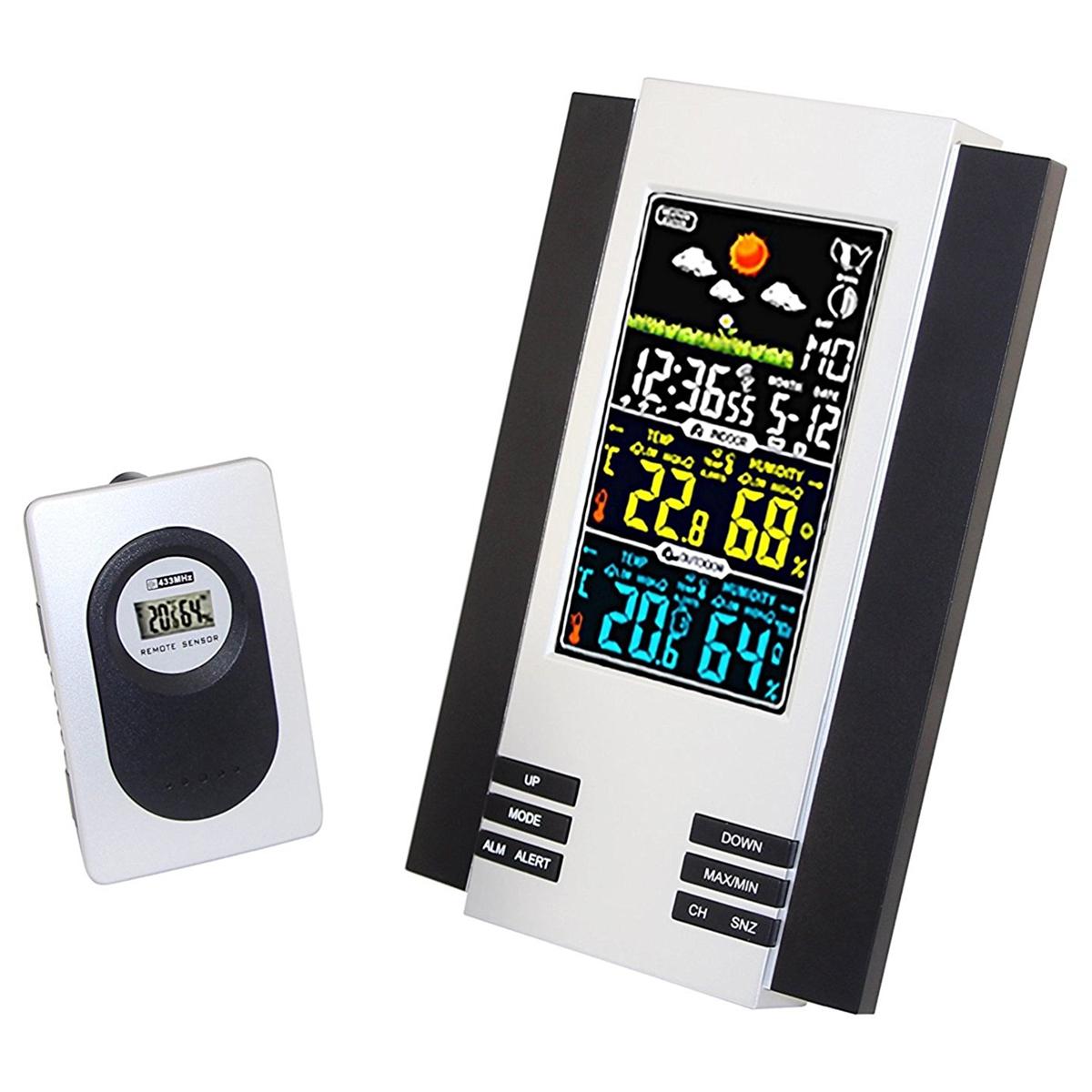 Lcd Digital Indoor Outdoor Wireless Weather Station Clock