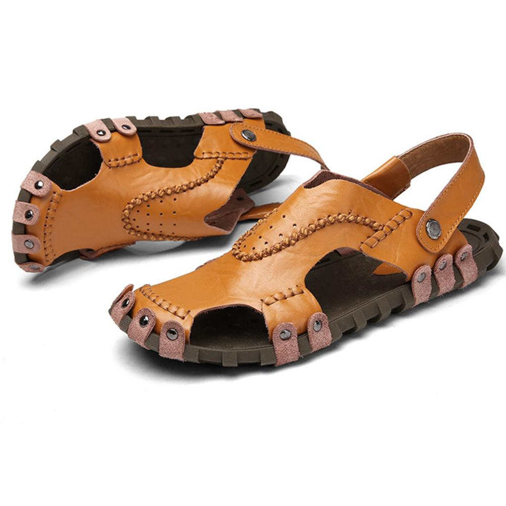 Buy Men's Sandals Genuine Leather Soft Sole Casual Toe Breathable Cooler Shoes Summer Beach Cowhide