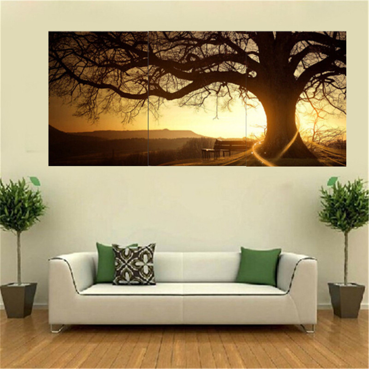 3pcs sunset combination painting printed on canvas for Wallpaper of home wall