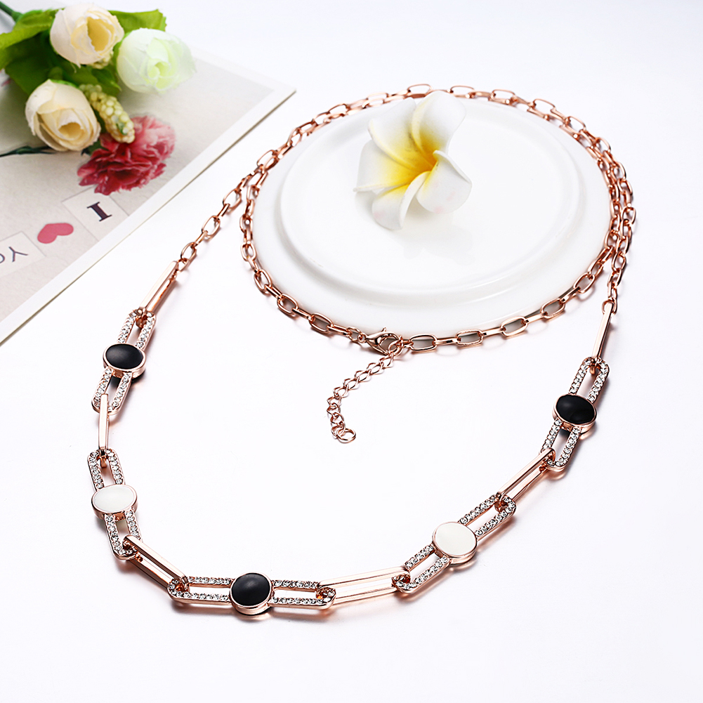 INALIS Rose Gold Plated Rhinestone Trendy Long Necklace