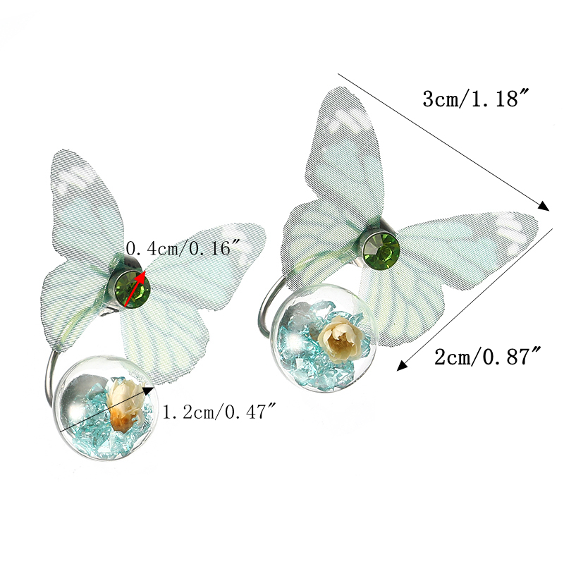 Trendy Crystal Glass Ball Flower Butterfly Fabric Earrings for Women