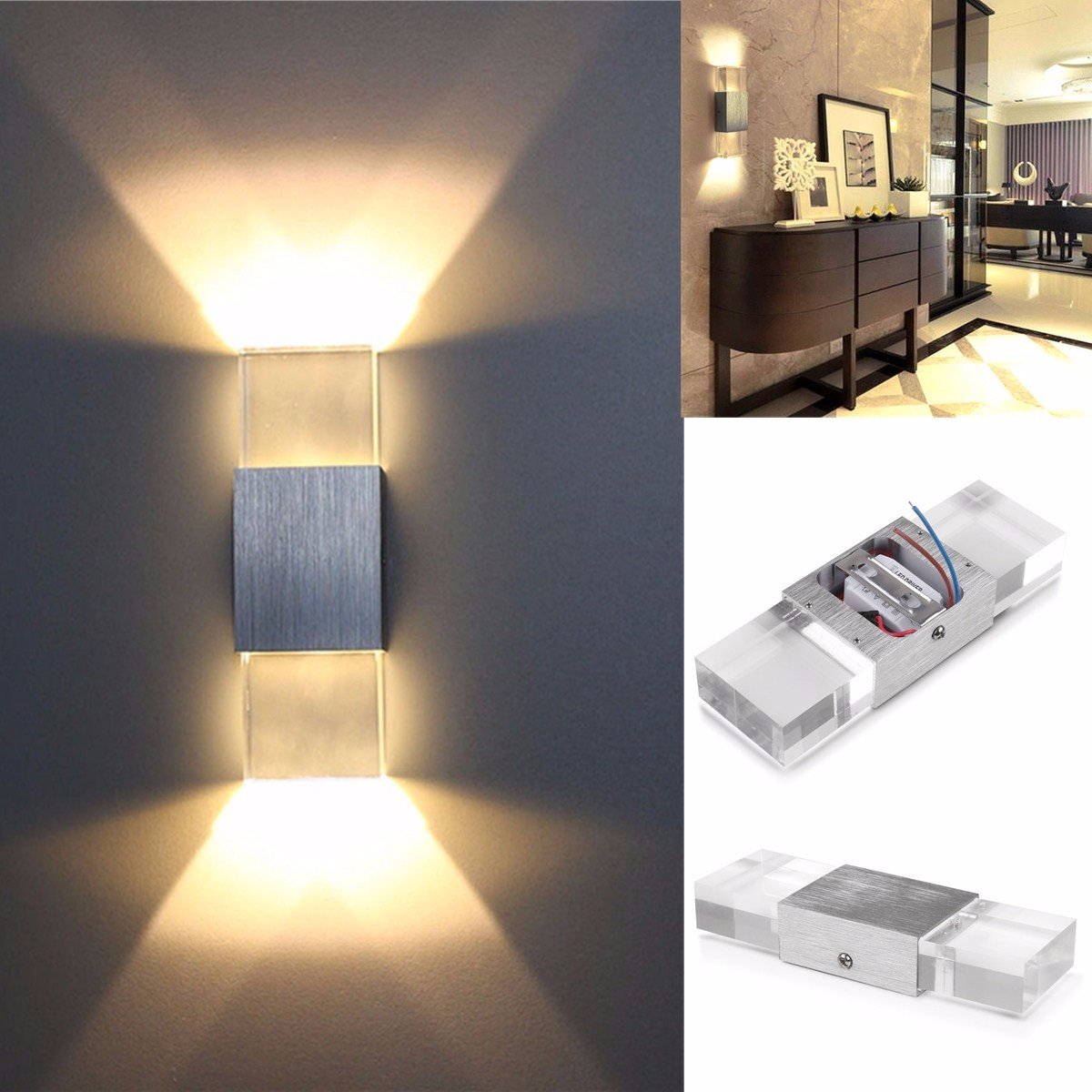2w Modern Led Wall Light Up Down Indoor Sconce Bedroom Lamp Fixture Warm White Sale