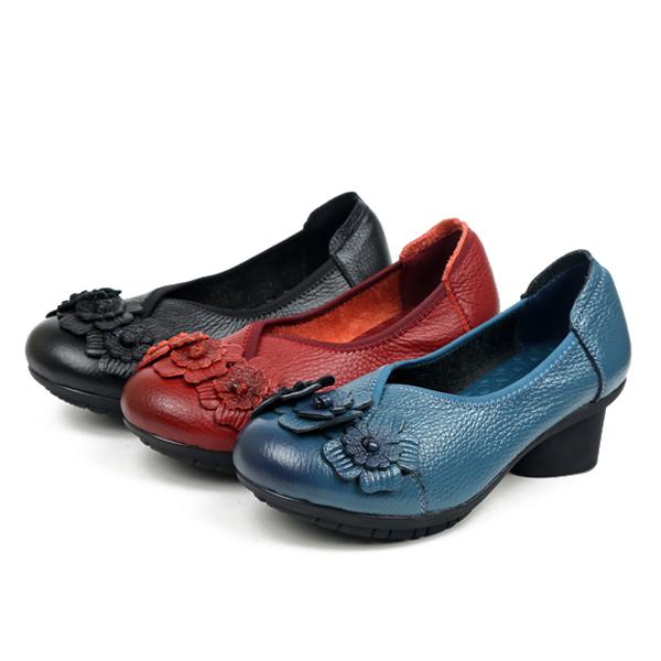 SOCOFY Mujer Casual Suave Alto Talón Zapatos En Cuero