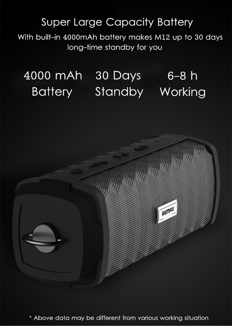 REMAX RB-M12 Outdoor 4000mAh IPX7 Water-proof Portable Bluetooth Speaker with Mic for Mobile Phone