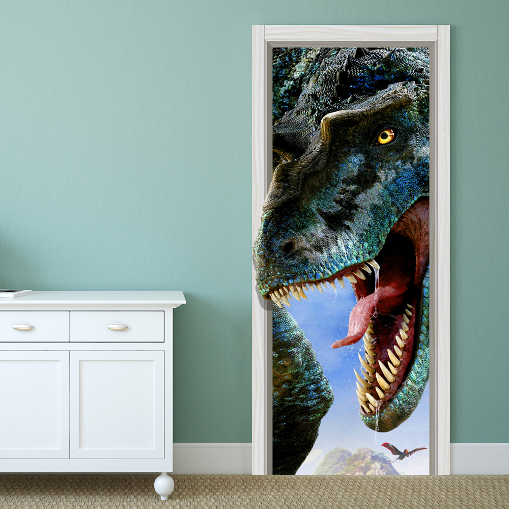 88x200cm pag imitative door 3d wall sticker fiery dragon for Decoration porte 3d