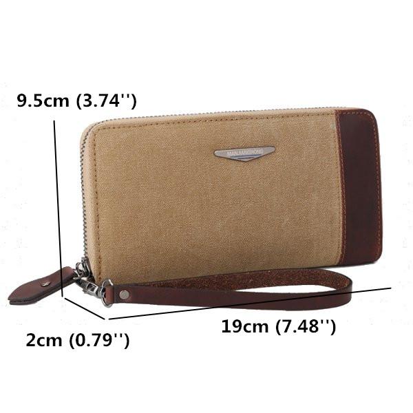 Women Men Canvas Long Wallet Zipper Purse Card Holder Clutches Phone Bags