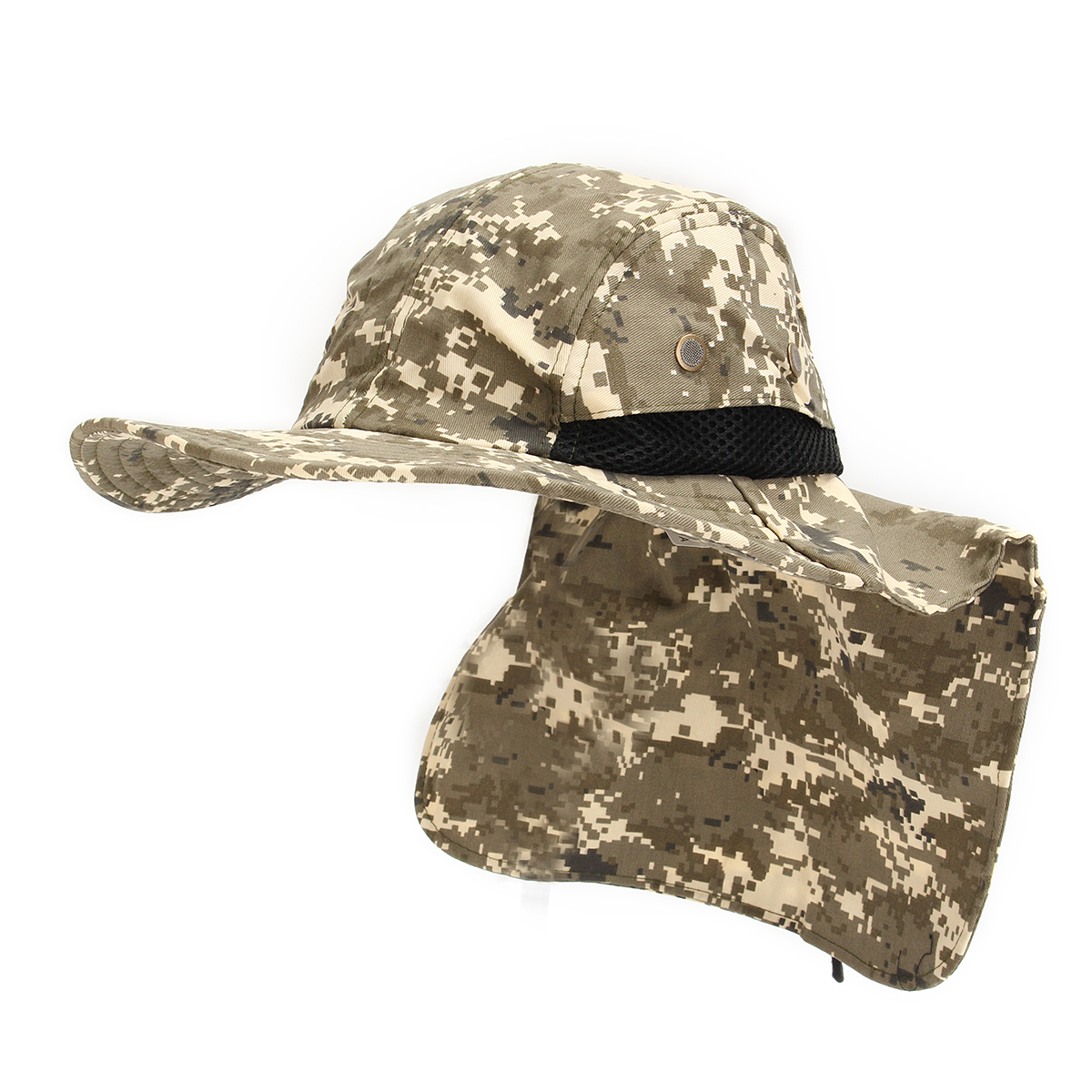 Hats caps unisex nylon camo mesh fishing hunting wide for Mesh fishing hats