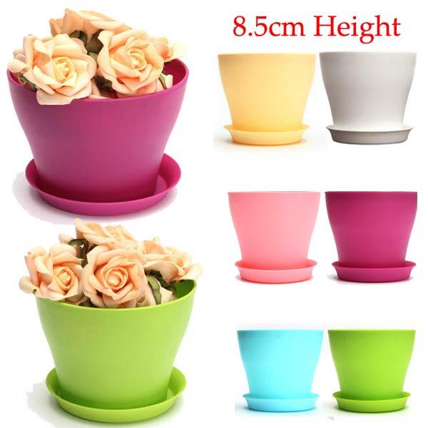 Buy 8.5cm 6 Colors Plastic Plant Flower Planting Pot Garden Office Decoration Flowerpot With Tray