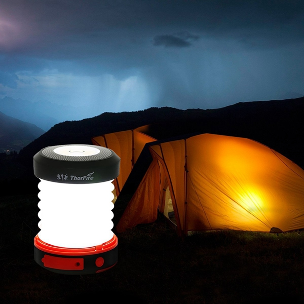 ThorFire Solar LED Camping Lantern USB Rechargeable Light ...