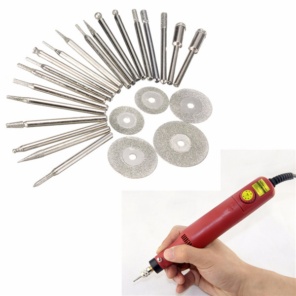Buy 2Diamond Coated Rotary Burrs and Cutting Wheel Blade Disc Set for Dremel Tool