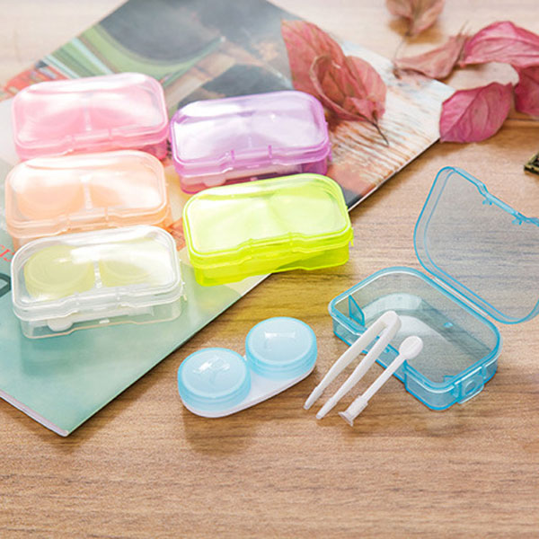 Buy Candy Color Contact Lens Case Portable Container Holder Eyewear Bag Storage Boxes Travel Kit