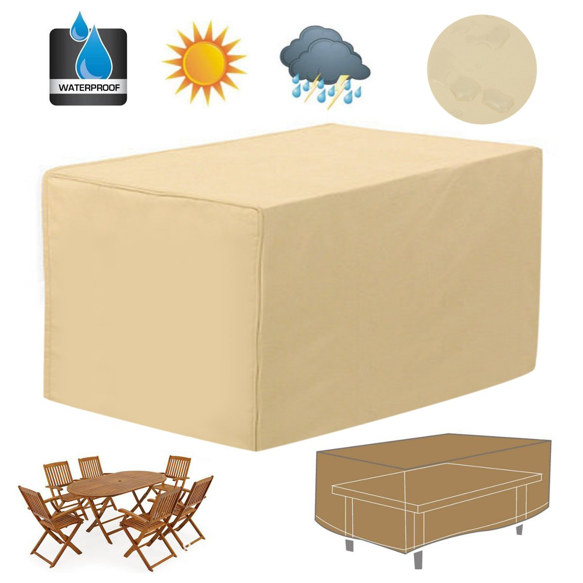 Rectangular Patio Coffee Side Table Cover 48 Large Gard