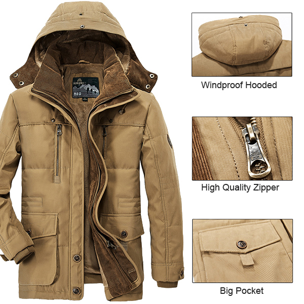 Mens Thick Fleece Winter Coat Hooded Outdoor Solid Color Jacket at ...