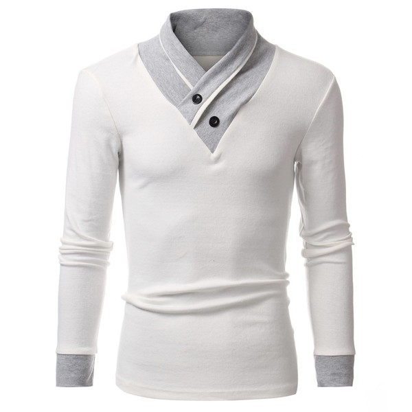 Mens Fashion Casual Slim fit Solid Color Buttons V-Neck Long ...