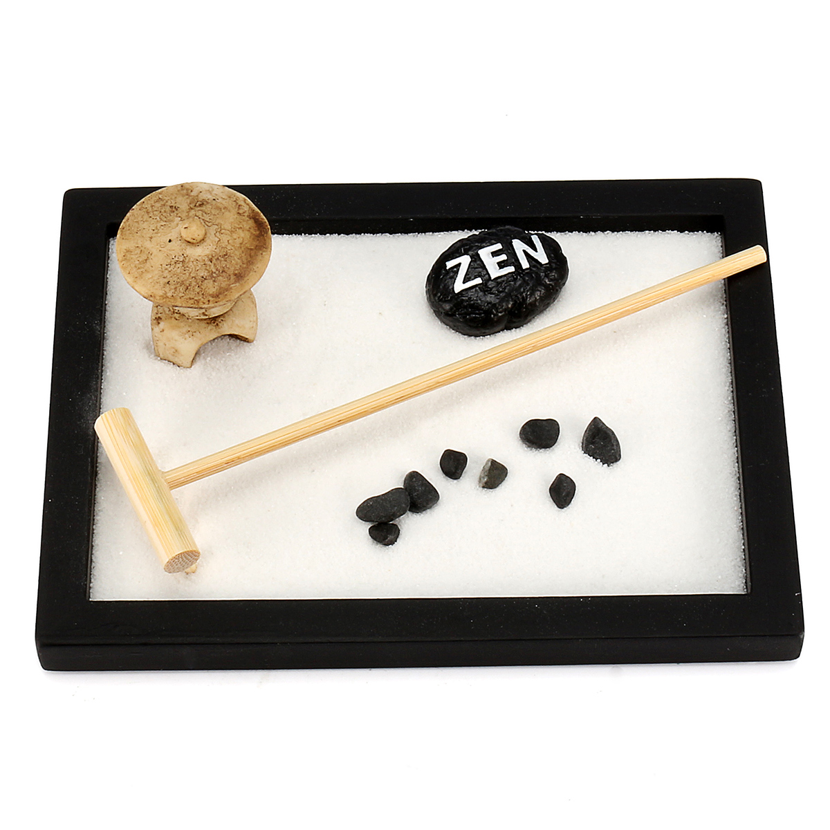 Mini Relax Peace Meditation Kit Yoga Office Feng Shui Sand Pebble Rack Tabletop Decor Gift