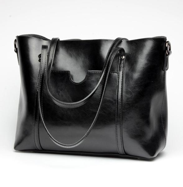 Schoudertassen Vrouwen Leer : Vrouwen olie leer tote handtassen casual front zakken