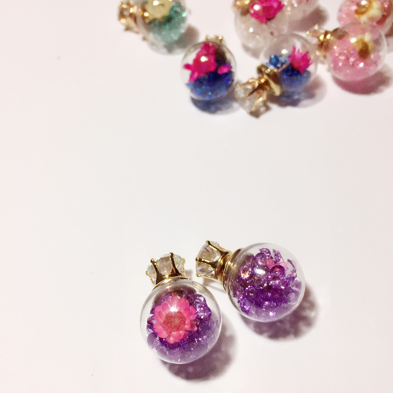 Trendy Colorful Crystal Glass Ball Flower Round Earrings