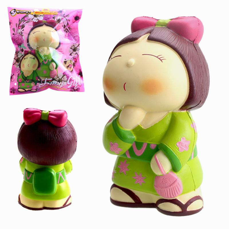 Vlampo AppleBlossoms Squishy Japan Kimono Girl Slow Rising Original Packaging Collection Gift Decor