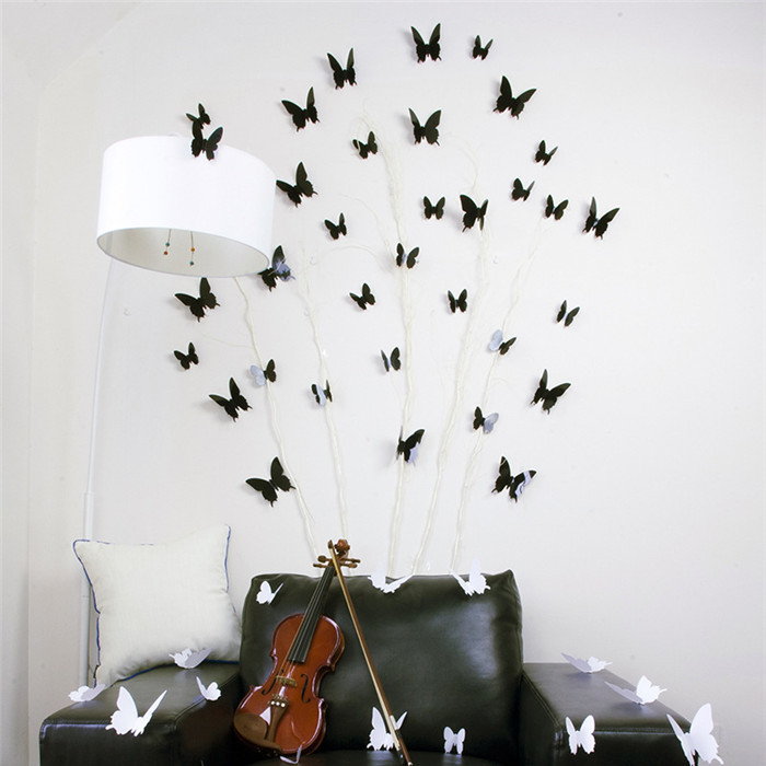 12Pcs 3D Butterfly Wall Stickers Home Room Wall Decal W