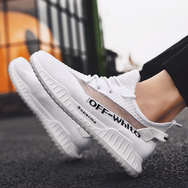 Season New Flying Woven Coconut Shoes Breathable Tide Shoes White Sports Casual Shoes Running Men's Shoes