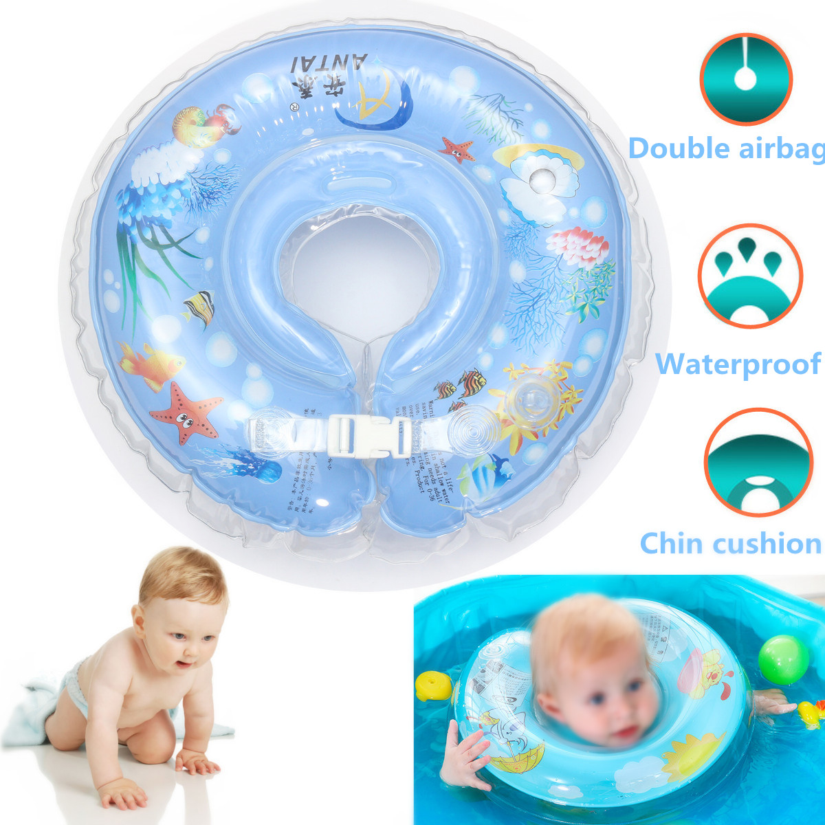 IPRee™ Safety Infant Kid Inflatable Swimming Neck Float Ring PVC ...