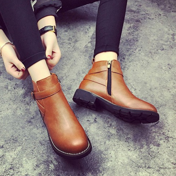 Women Casual Platform Boots Zipper Round Toe Ankle Short Boots Casual Boots