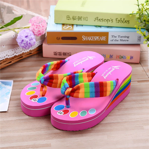 Women Colorful Shoelaces Flip Flops Beach Slippers Platforms Sandals