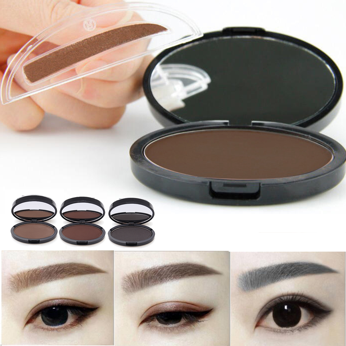 Buy Natural Long-Lasting Waterproof Eyebrow Stamp Brwon Grey Eyes Makeup Powder Palette Tool