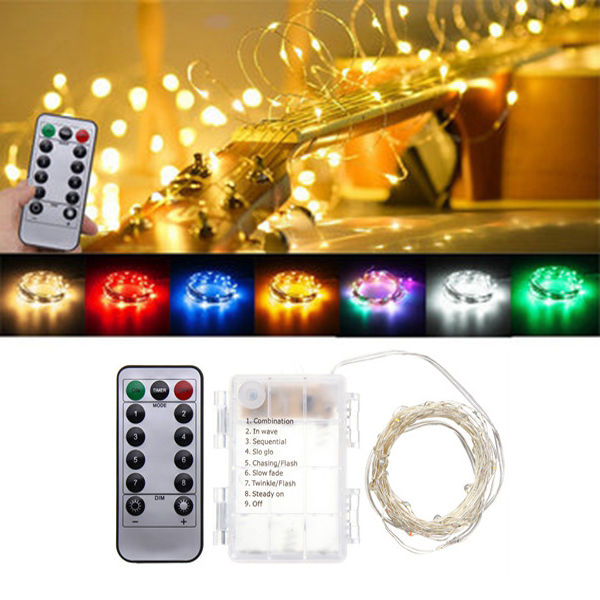 Battery Powered 5M 50LEDs Waterproof Silver Wire Fairy String Light for Christmas Remote Control