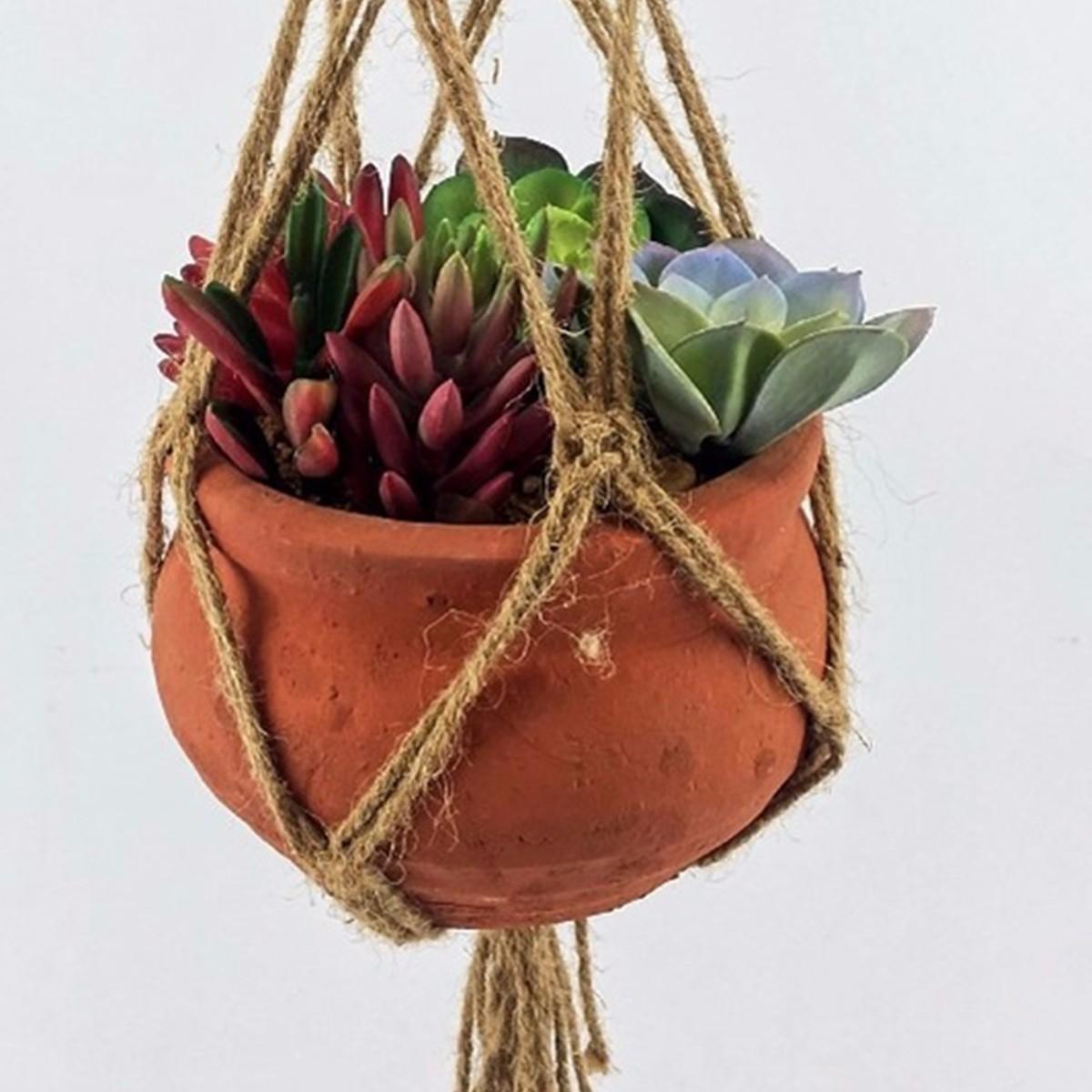 40 pulgadas de cuerda planta de maceta percha macrame cordón de yute decorativo para interiores y exteriores