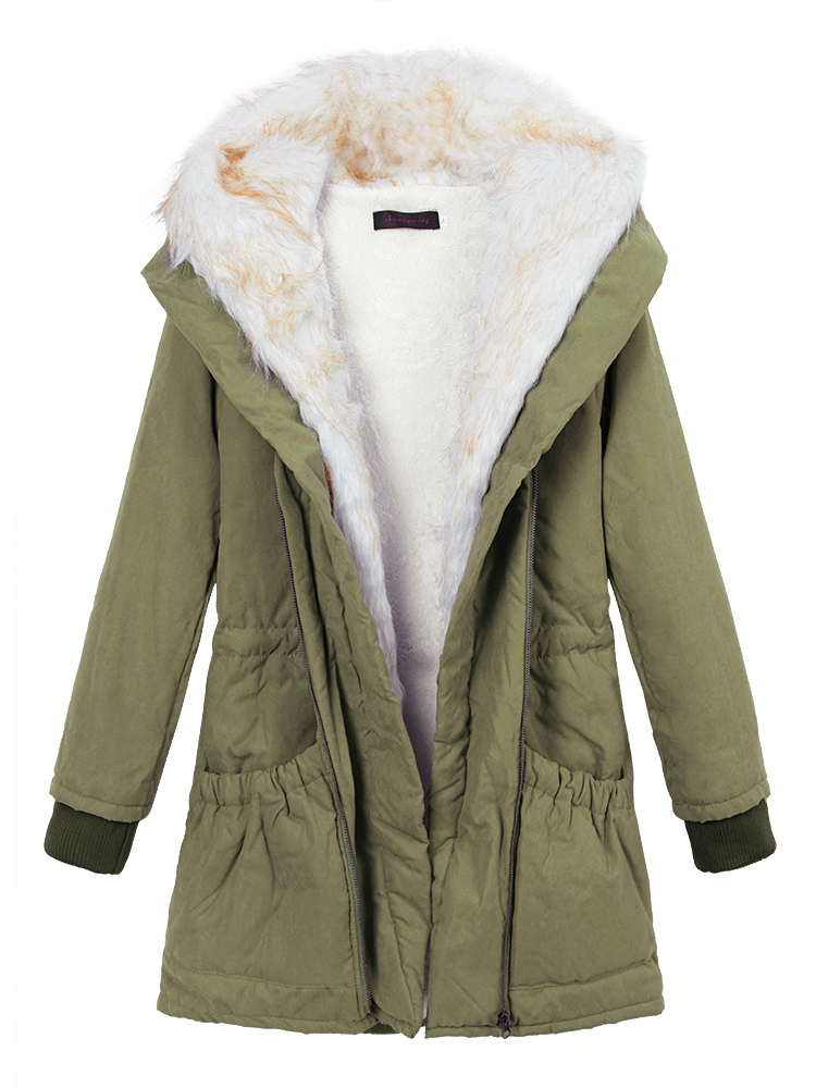 Women Winter Thicken Outerwear Parka Fur Hooded Coat Long Jacket ...