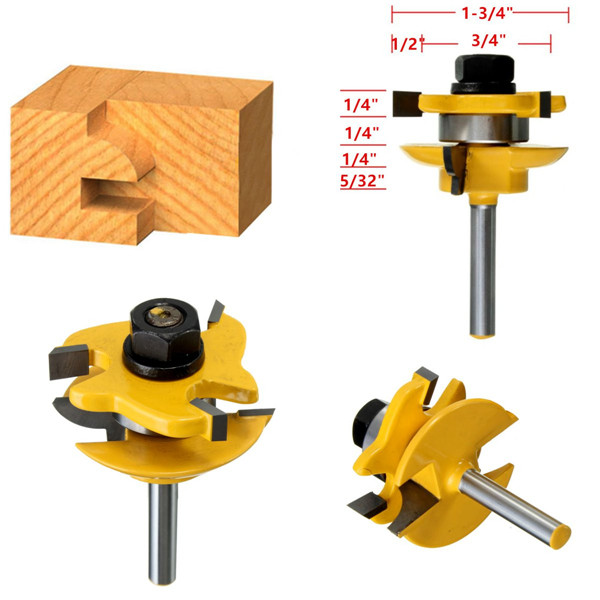 Drillpro RB15 3pcs 1/4 Inch Round Rail Stile Router Bits ...