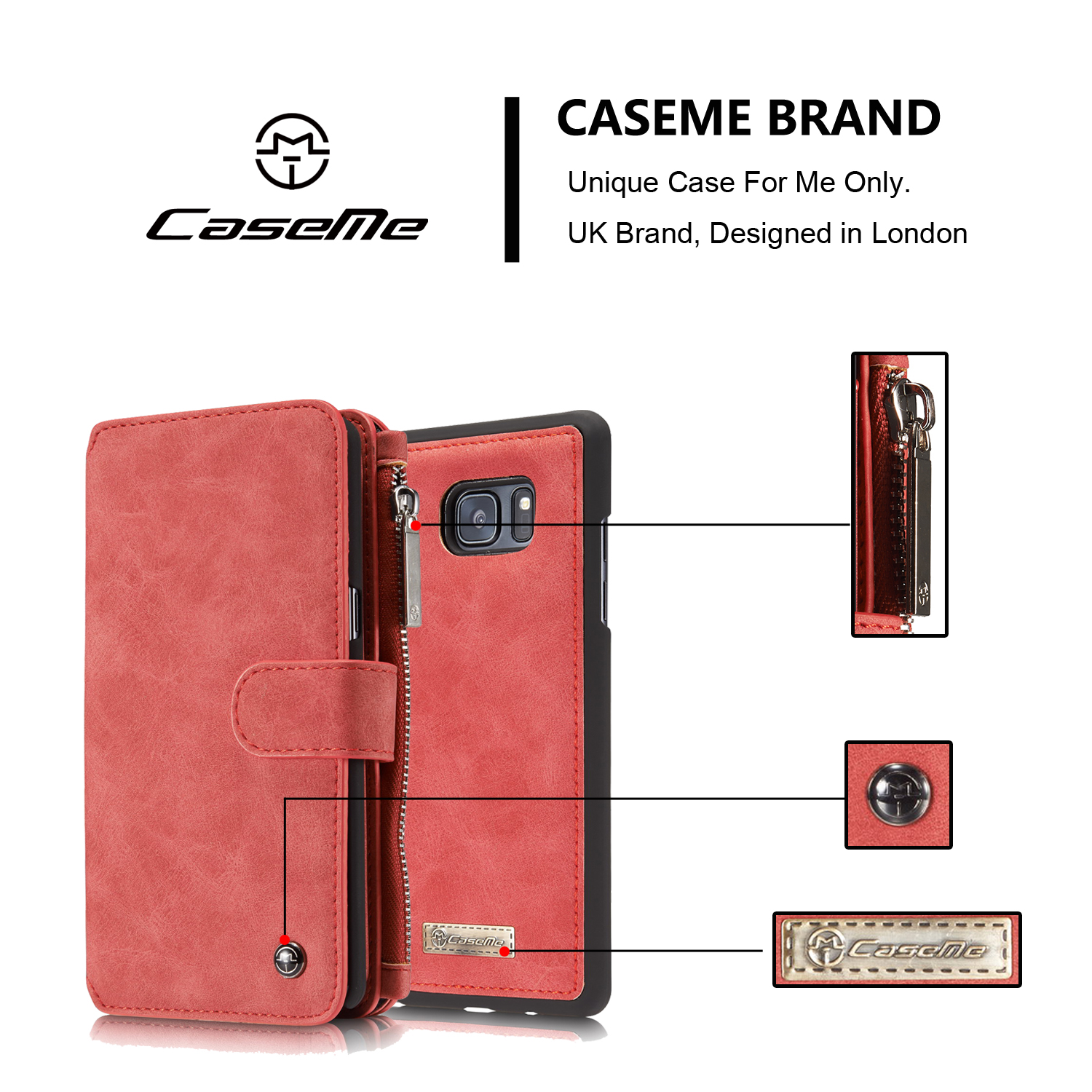 CaseMe Retro Removable PU Zipper Wallet Card Case For Samsung Galaxy Note 7