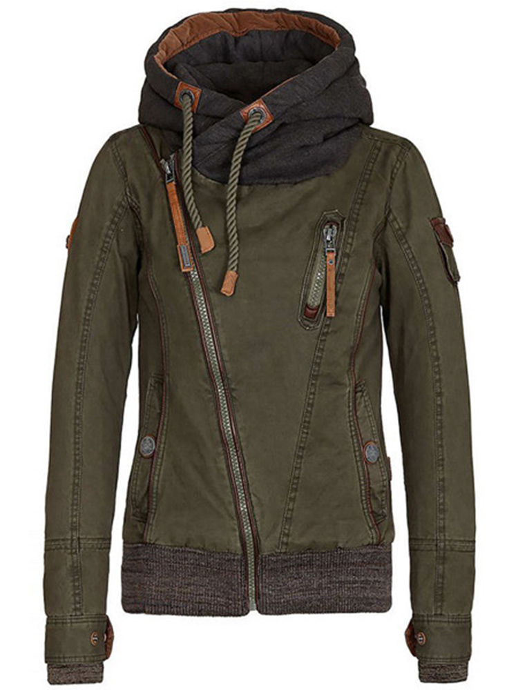 Casual Army Green Hooded Long Sleeve Thick Zipper Women Sweatshirt Coat