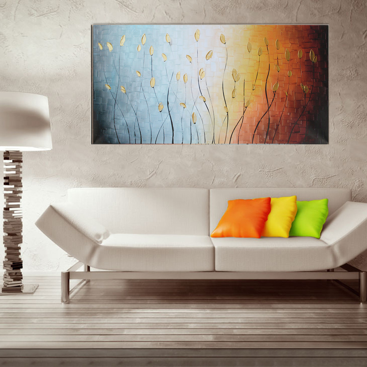 Abstract wall art painting - 120x60cm Leaves Abstract Wall Art Painting Canvas Print Picture Home Decoration No Frame