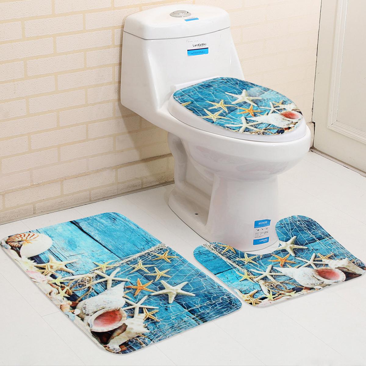 3pcs Set Blue Ocean Style Bathroom Set Pedestal Rug Lid