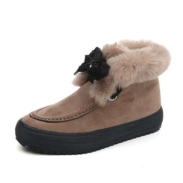 Faux Fur Lining Lace Up Round Toe Warm Ankle Short Boots For Women