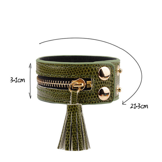 Leather Zipper Wide Tassel Bracelets For Women