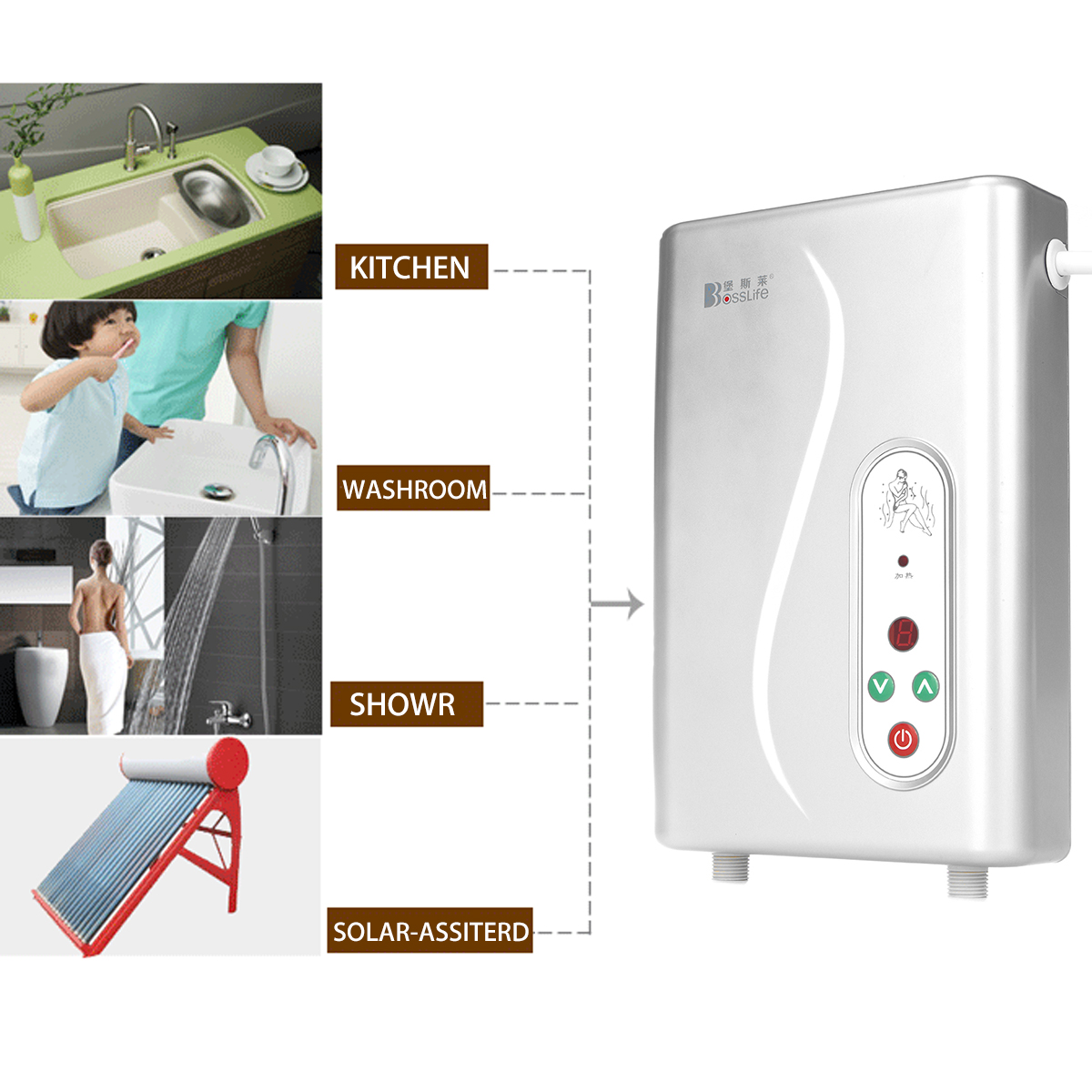 Electric hot water heater instant shower panel system kit for 1 bathroom tankless water heater