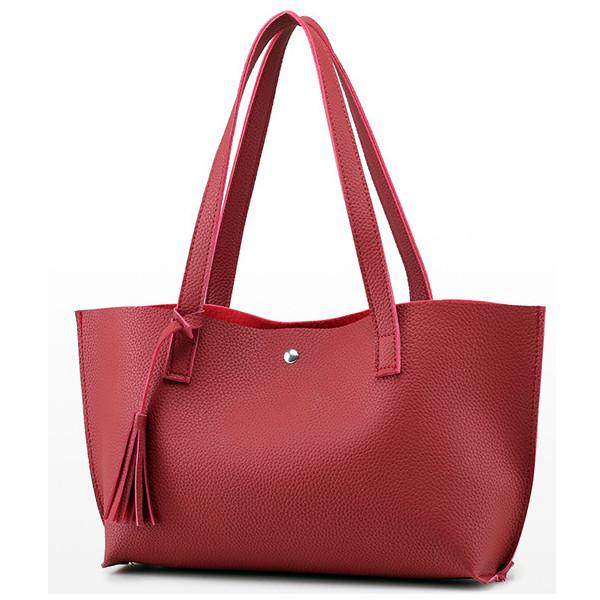Women Tassel Tote Handbags Candy Color Shoulder Bags Capacity Shopping Bags