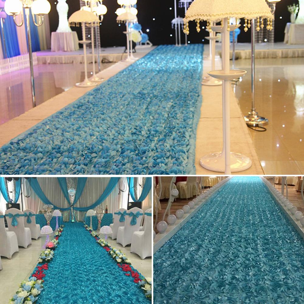 Flower Aisle Wedding: 140*475CM 3D Rose Flower Satin Wedding Aisle Runner Carpet