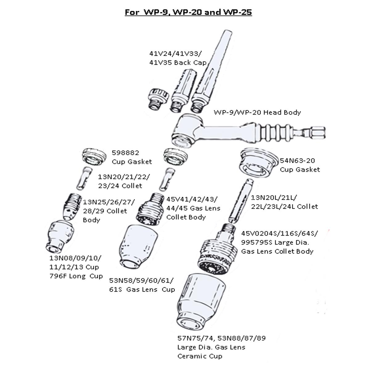 Tig Torch Parts Diagram Quotes Welding Handpiece Water Cooled Wp 20f Sr Flexible Head