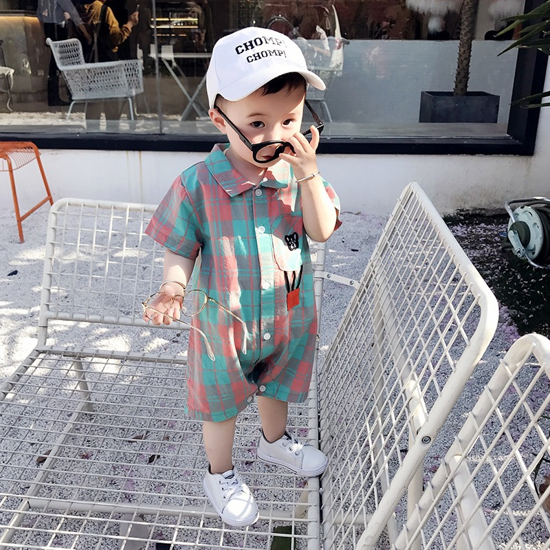 Baby Clothes Female Onesies Out Newborn Clothes Season Thin Section 6-12 Months Male Baby Short Sleeves