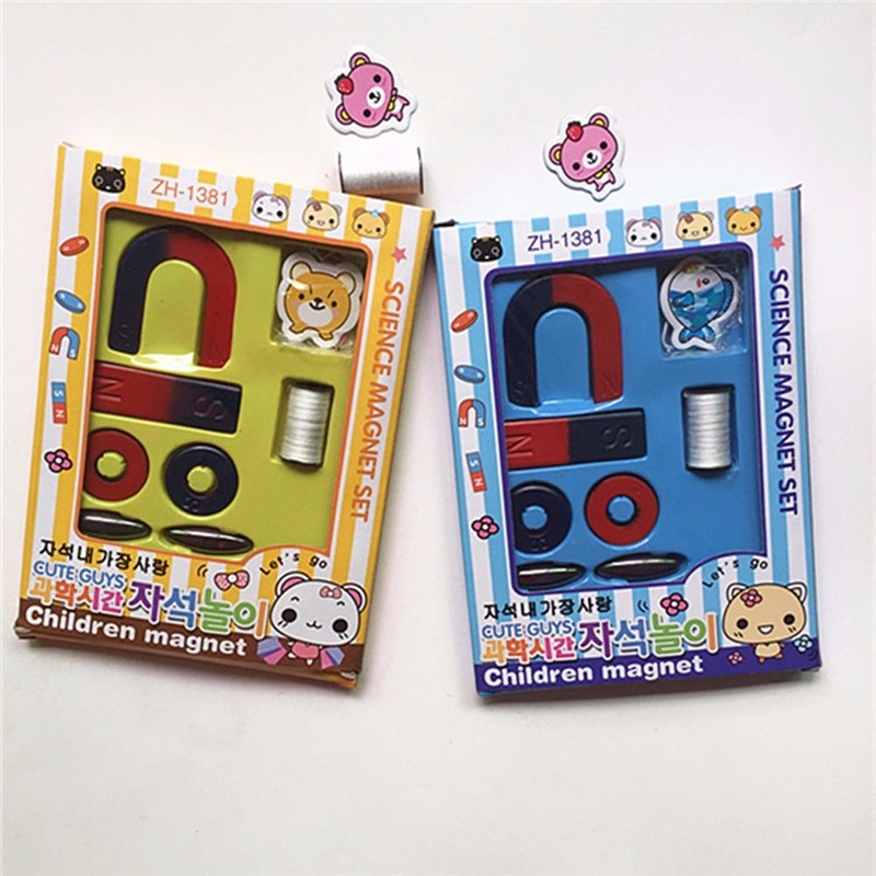 Magnets Field Scool Kids Teaching Education Tool Set Horseshoe Magnet Ring Toy - Photo: 2